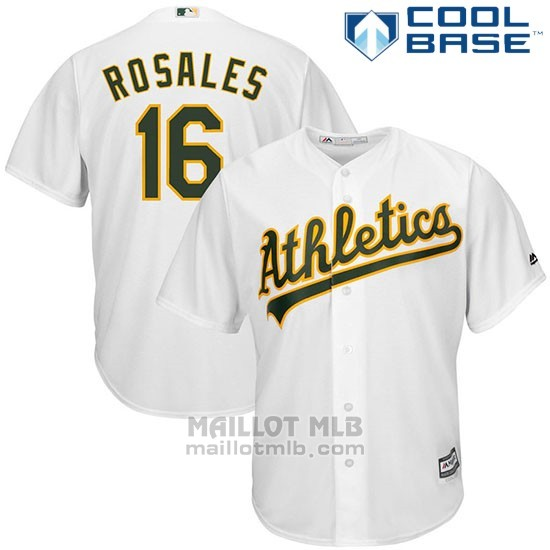 Maillot Baseball Homme Oakland Athletics Adam Rosales Blanc Cool Base