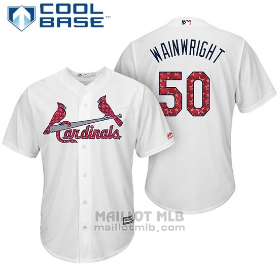 Maillot Baseball Homme St. Louis Cardinals 2017 Estrellas y Rayas Adam Wainwright Blanc Cool Base