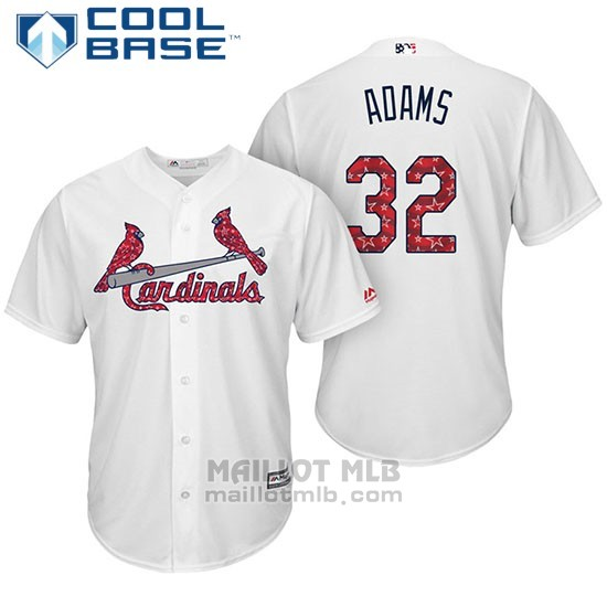 Maillot Baseball Homme St. Louis Cardinals 2017 Estrellas y Rayas Matt Adams Blanc Cool Base