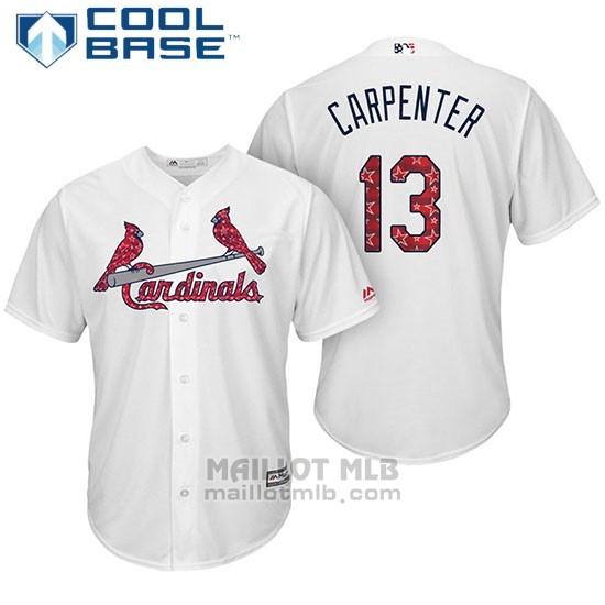 Maillot Baseball Homme St. Louis Cardinals 2017 Estrellas y Rayas Matt Carpenter Blanc Cool Base