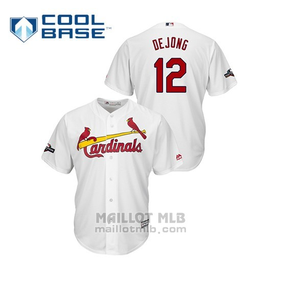 Maillot Baseball Homme St. Louis Cardinals 12 Paul Dejong 2019 Postseason Cool Base Blanc