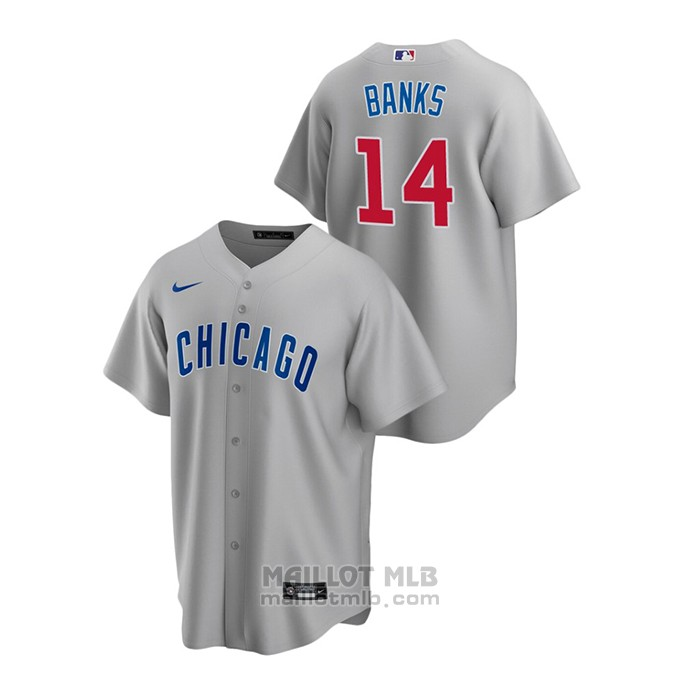 Maillot Baseball Homme Chicago Cubs Ernie Banks Replique Road Gris