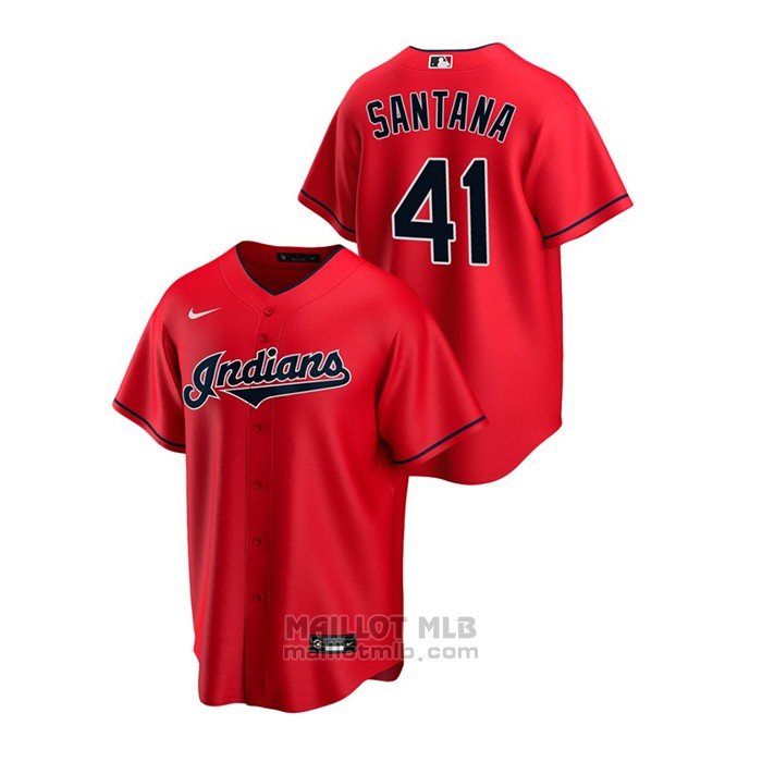 Maillot Baseball Homme Cleveland Indians Carlos Santana Replique Alterner Rouge