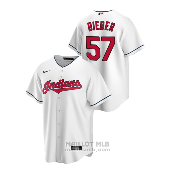 Maillot Baseball Homme Cleveland Indians Shane Bieber Replique Primera Blanc