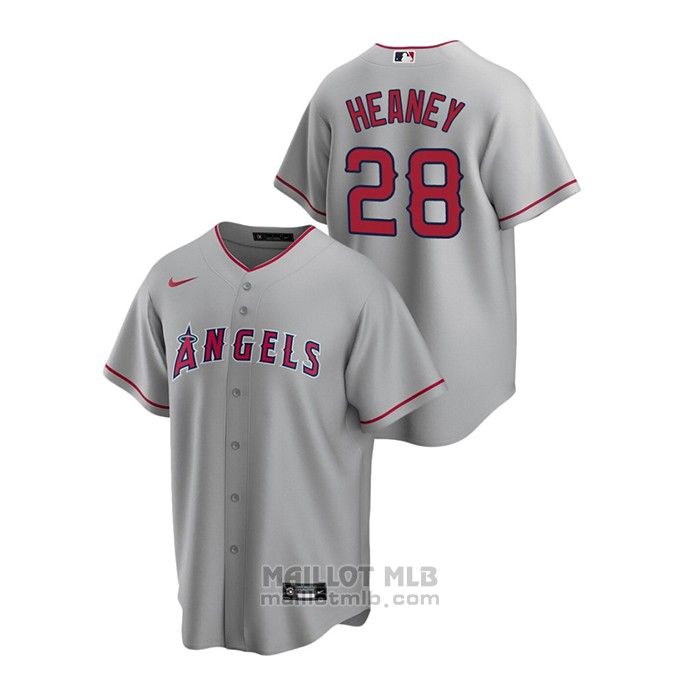 Maillot Baseball Homme Los Angeles Angels Andrew Heaney Replique Road Gris