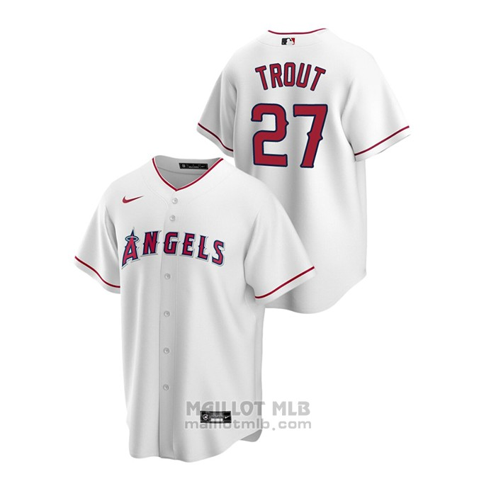 Maillot Baseball Homme Los Angeles Angels Mike Trout Replique Primera Blanc