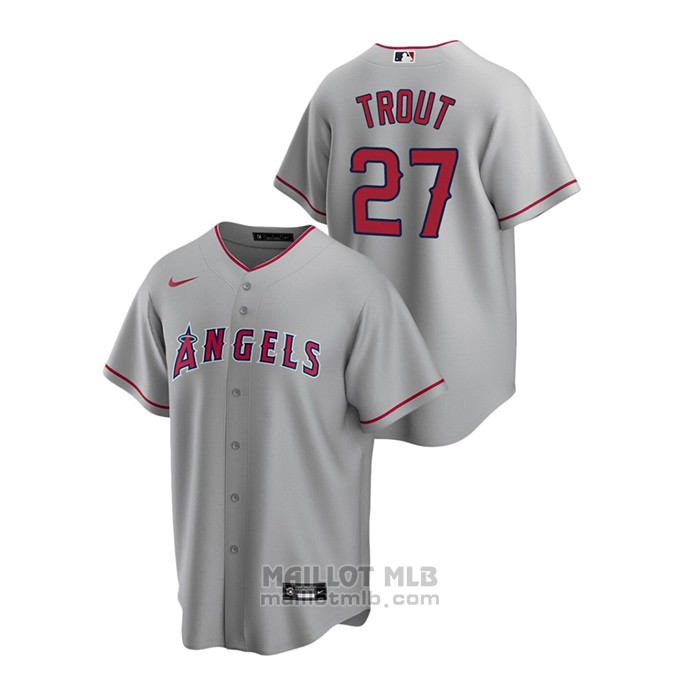 Maillot Baseball Homme Los Angeles Angels Mike Trout Replique Road Gris