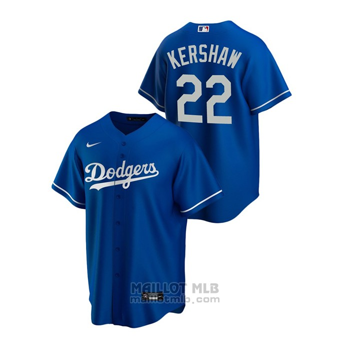Maillot Baseball Homme Los Angeles Dodgers Clayton Kershaw Replique Alterner Bleu