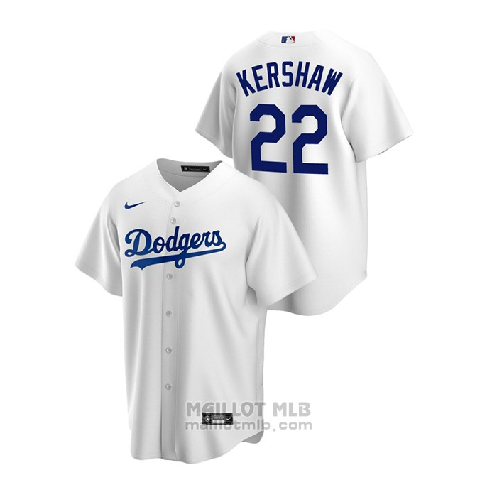 Maillot Baseball Homme Los Angeles Dodgers Clayton Kershaw Replique Primera Blanc