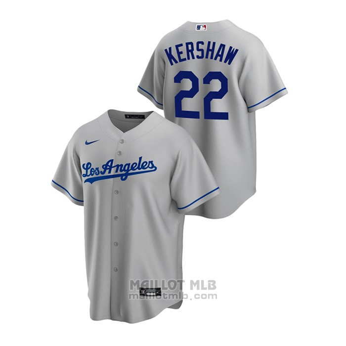Maillot Baseball Homme Los Angeles Dodgers Clayton Kershaw Replique Road Gris