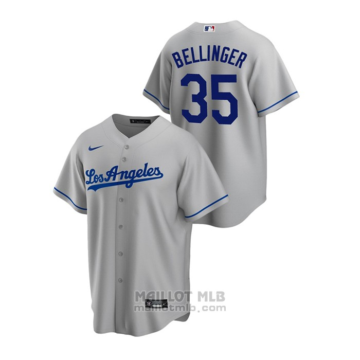 Maillot Baseball Homme Los Angeles Dodgers Cody Bellinger Replique Road Gris
