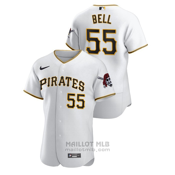 Maillot Baseball Homme Pittsburgh Pirates Josh Bell Authentique Blanc