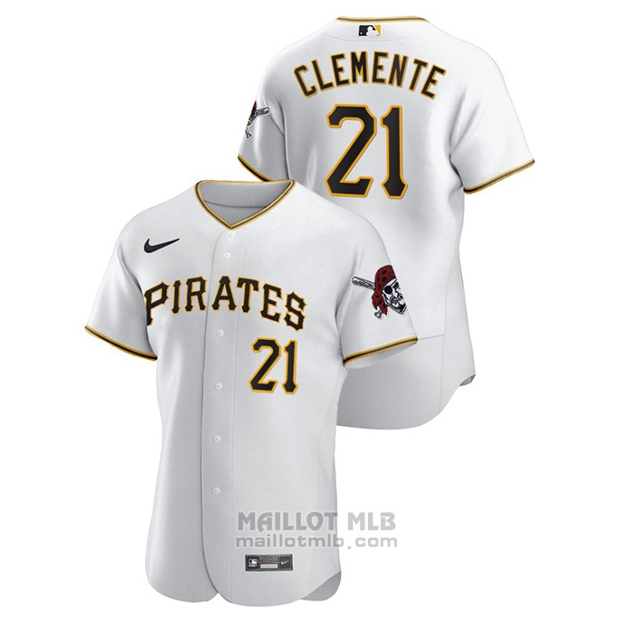 Maillot Baseball Homme Pittsburgh Pirates Roberto Clemente Authentique Blanc