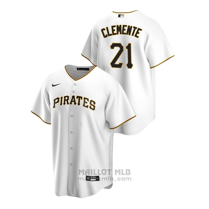 Maillot Baseball Homme Pittsburgh Pirates Roberto Clemente Replique Primera Blanc