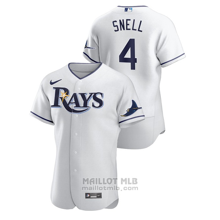 Maillot Baseball Homme Tampa Bay Rays Blake Snell Authentique Blanc