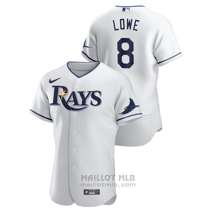 Maillot Baseball Homme Tampa Bay Rays Brandon Lowe Authentique Blanc