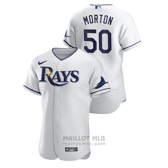 Maillot Baseball Homme Tampa Bay Rays Charlie Morton Authentique Blanc