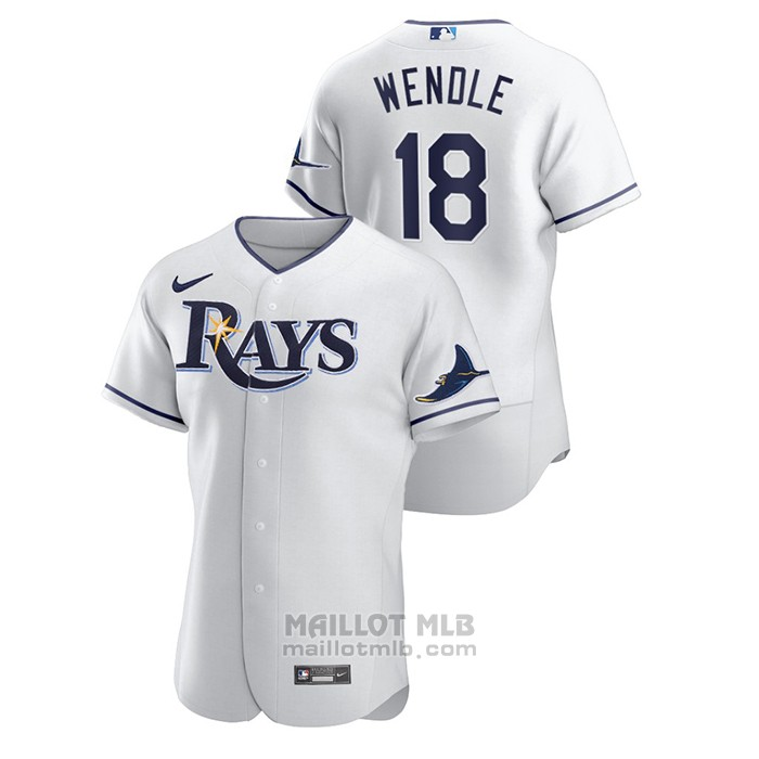 Maillot Baseball Homme Tampa Bay Rays Joey Wendle Authentique Blanc