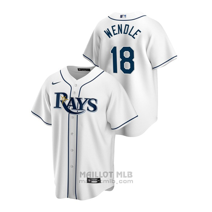 Maillot Baseball Homme Tampa Bay Rays Joey Wendle Replique Primera Blanc
