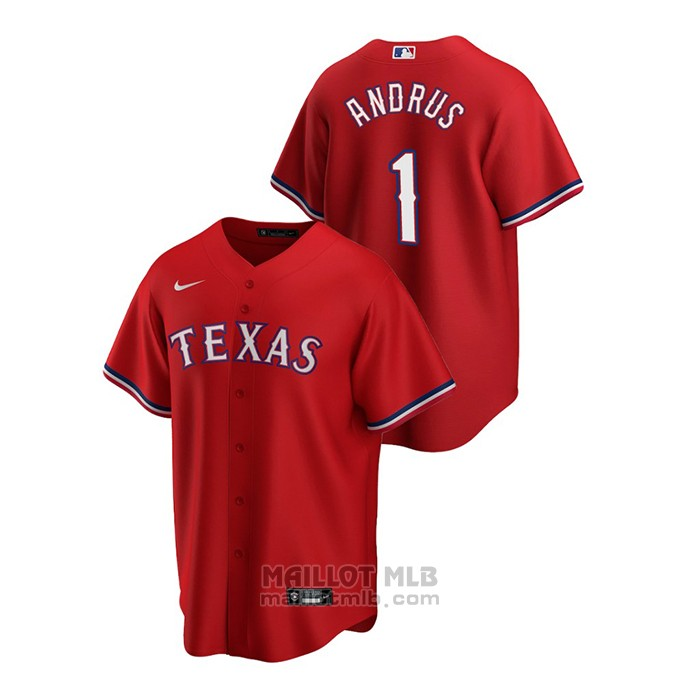 Maillot Baseball Homme Texas Rangers Elvis Andrus 2020 Replique Alterner Rouge