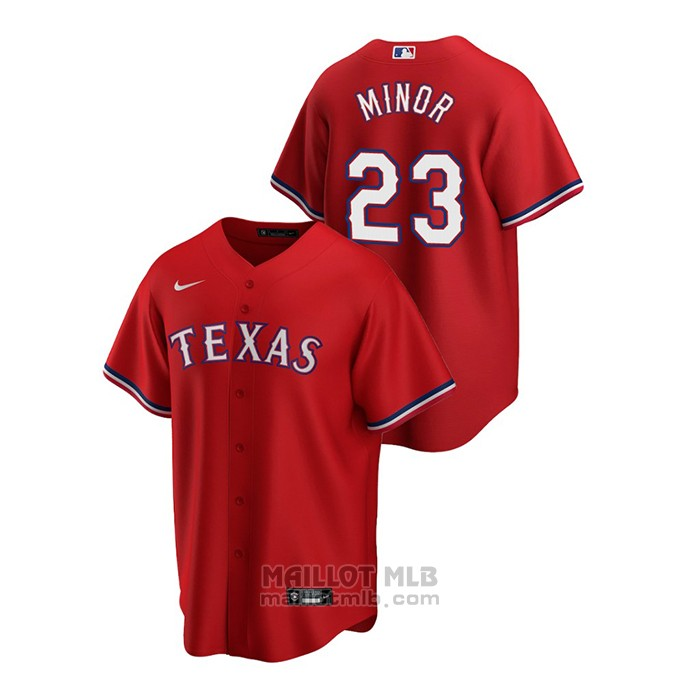 Maillot Baseball Homme Texas Rangers Mike Minor 2020 Replique Alterner Rouge