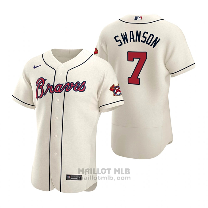 Maillot Baseball Homme Atlanta Braves Dansby Swanson Authentique 2020 Alterner Creme