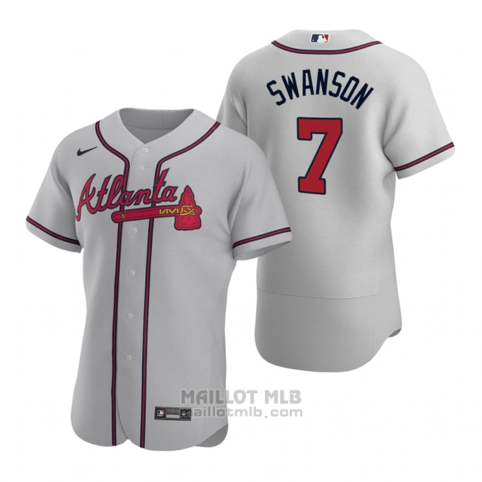 Maillot Baseball Homme Atlanta Braves Dansby Swanson Authentique 2020 Road Gris