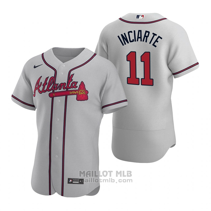 Maillot Baseball Homme Atlanta Braves Ender Inciarte Authentique 2020 Road Gris