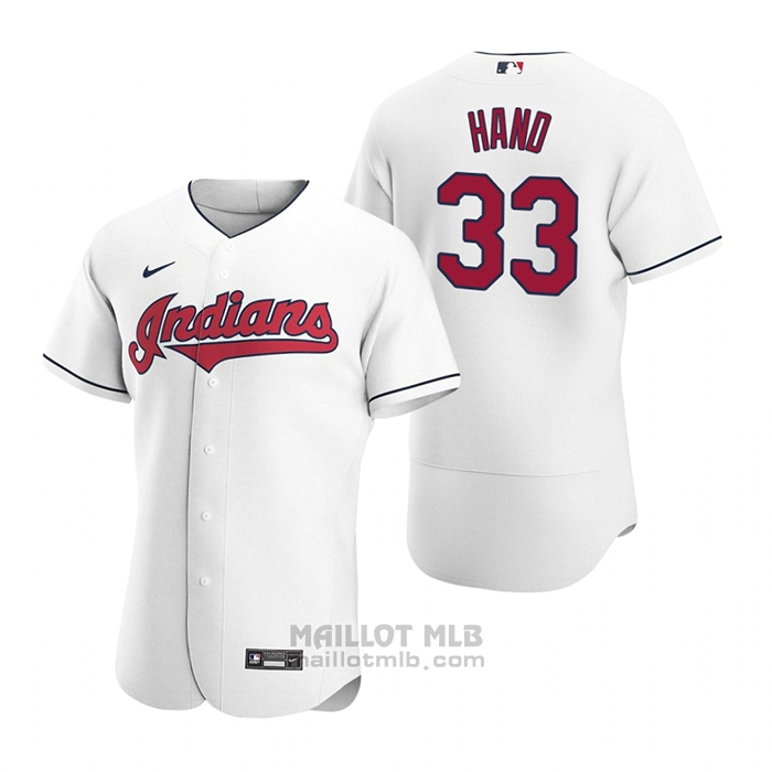 Maillot Baseball Homme Cleveland Indians Brad Hand Authentique 2020 Primera Blanc