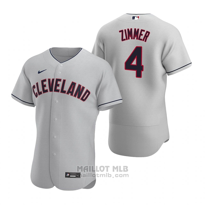 Maillot Baseball Homme Cleveland Indians Bradley Zimmer Authentique 2020 Road Gris