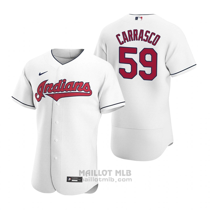 Maillot Baseball Homme Cleveland Indians Carlos Carrasco Authentique 2020 Primera Blanc