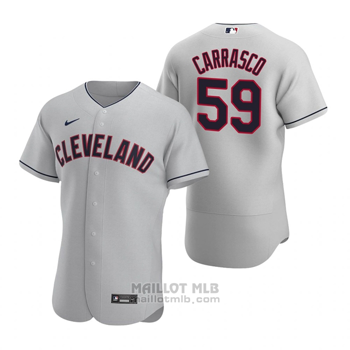 Maillot Baseball Homme Cleveland Indians Carlos Carrasco Authentique 2020 Road Gris