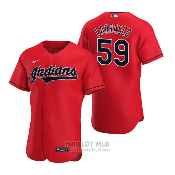 Maillot Baseball Homme Cleveland Indians Carlos Carrasco Authentique Alterner 2020 Rouge