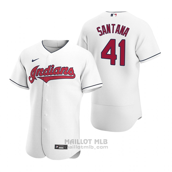 Maillot Baseball Homme Cleveland Indians Carlos Santana Authentique 2020 Primera Blanc