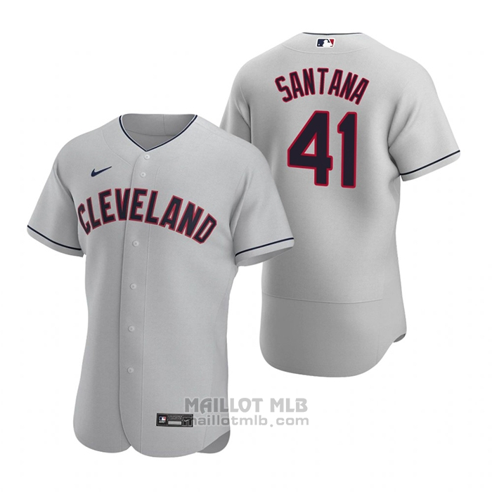 Maillot Baseball Homme Cleveland Indians Carlos Santana Authentique 2020 Road Gris