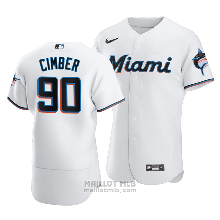 Maillot Baseball Homme Miami Marlins Adam Cimber Authentique Primera Blanc