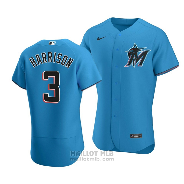 Maillot Baseball Homme Miami Marlins Monte Harrison Authentique Alterner Bleu