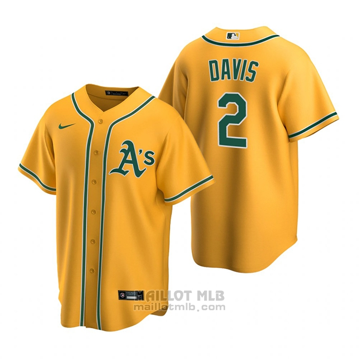 Maillot Baseball Homme Oakland Athletics Khris Davis Replique Alterner Or