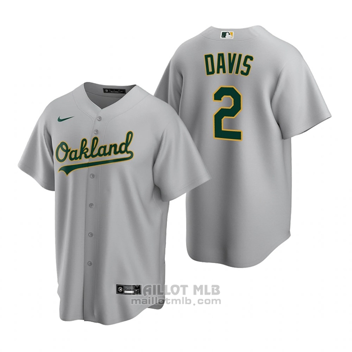 Maillot Baseball Homme Oakland Athletics Khris Davis Replique Road Gris