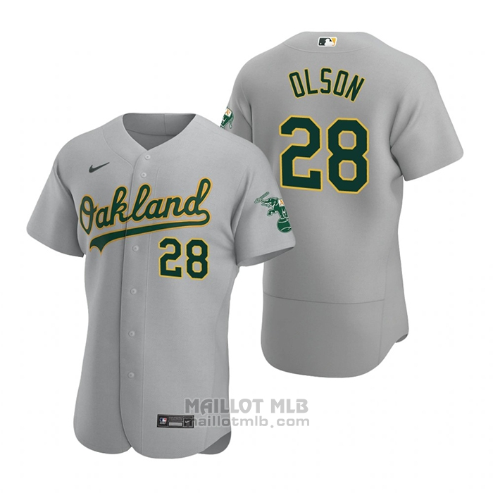 Maillot Baseball Homme Oakland Athletics Matt Olson Authentique Road Gris