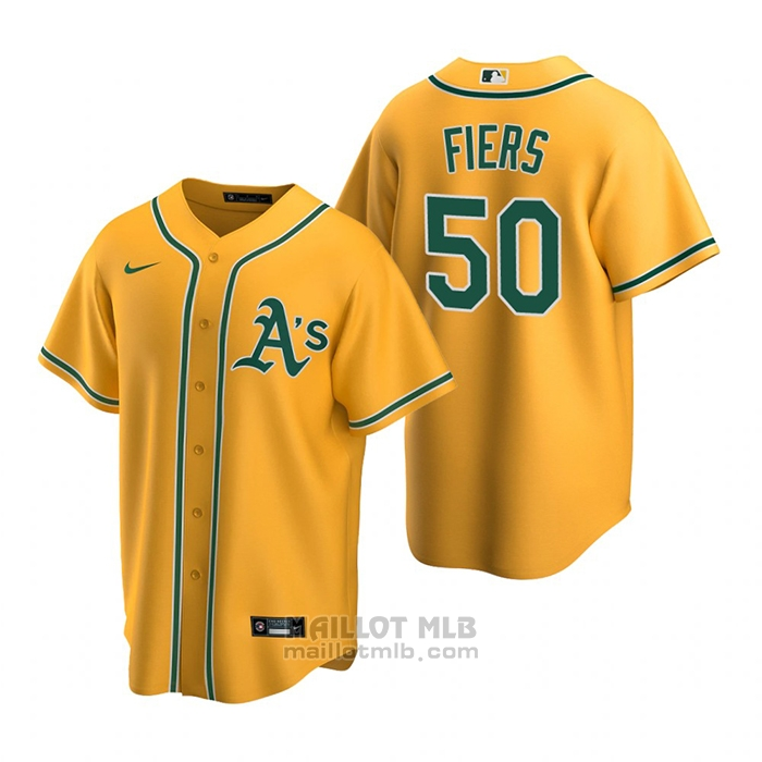 Maillot Baseball Homme Oakland Athletics Mike Fiers Replique Alterner Or