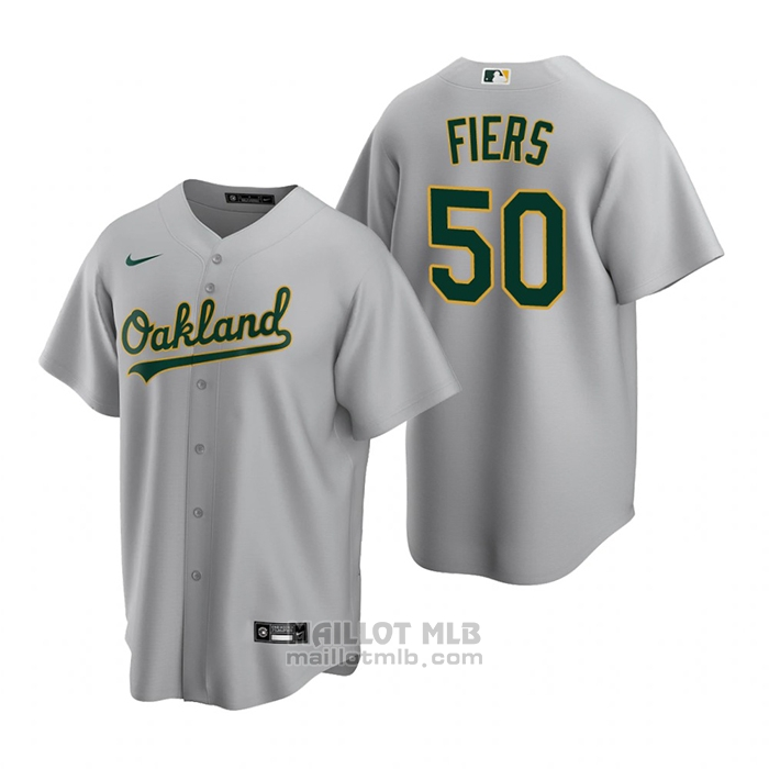 Maillot Baseball Homme Oakland Athletics Mike Fiers Replique Road Gris