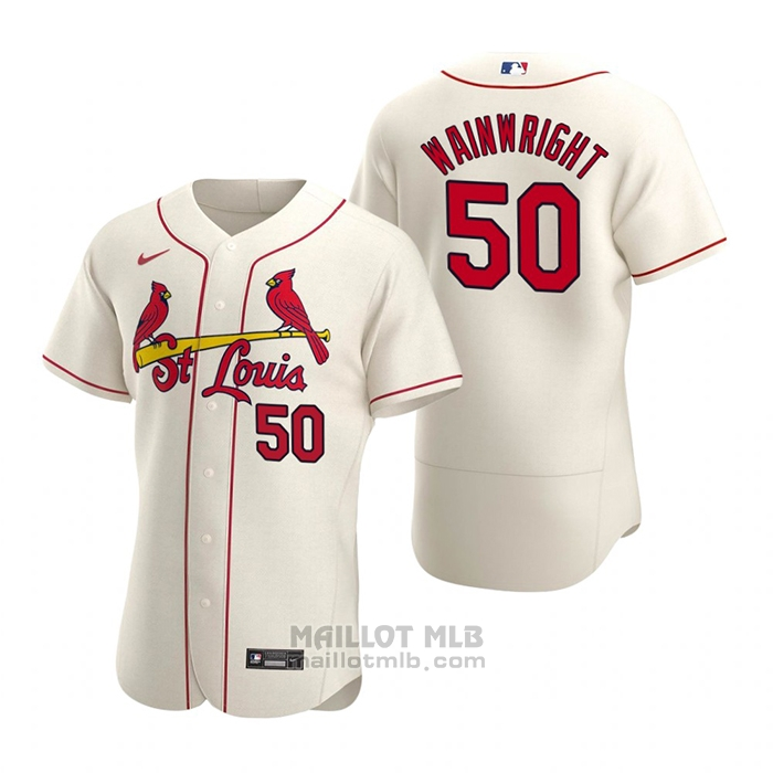 Maillot Baseball Homme St. Louis Cardinals Adam Wainwright Authentique 2020 Alterner Creme