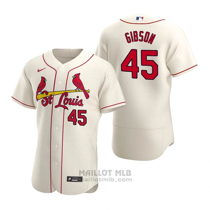 Maillot Baseball Homme St. Louis Cardinals Bob Gibson Authentique 2020 Alterner Creme