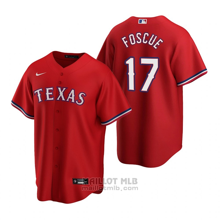 Maillot Baseball Homme Texas Rangers Justin Foscue Replique 2020 Rouge