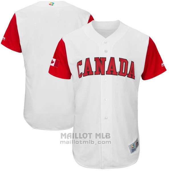 Maillot Baseball Homme Canada Clasico Mundial de Baseball 2017 Personnalise Blanc