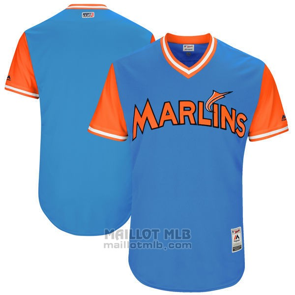 Maillot Baseball Homme Miami Marlins Players Weekend 2017 Personnalise Bleu 0098-th231umb.jpg