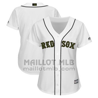 Maillot Baseball Femme Boston Red Sox Personnalise 2018 Blanco