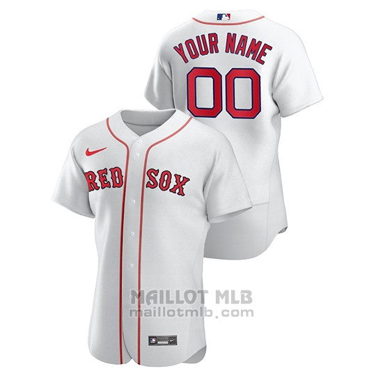 Maillot Baseball Homme Boston Red Sox Personnalise Authentique Nike Blanc