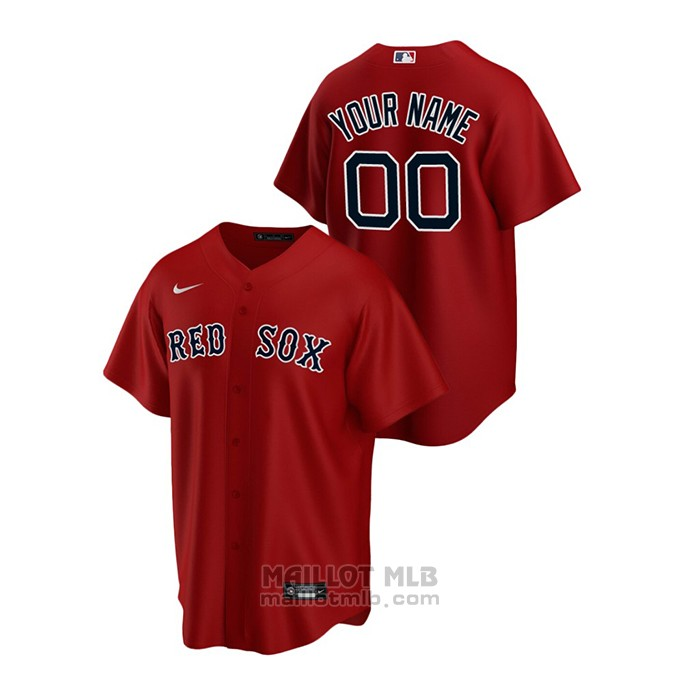 Maillot Baseball Homme Boston Red Sox Personnalise Replique Alterner Rouge